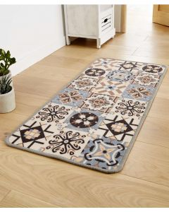 Tapis motif carreaux de ciment.