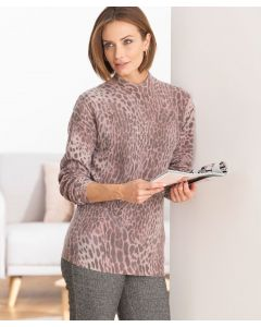 Pullover mit Leopardenprint, 80%Wolle.