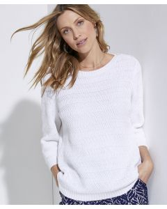 Pull maille chevrons pur coton