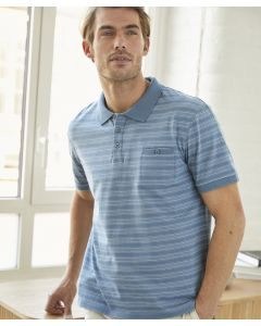 Polo maille jersey fines rayures