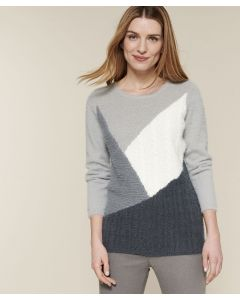 Pull colorblock maille poilue