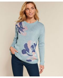 Pull maille jacquard à fleurs Thermolactyl