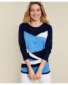 Colorblock-Pullover mit Strass.