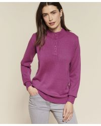 Pull col tunisien, maille jersey souple